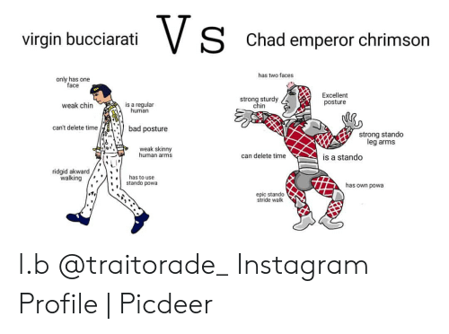 Virgin Bucciarati Chad Emperor Chrimson Has Two Faces Only