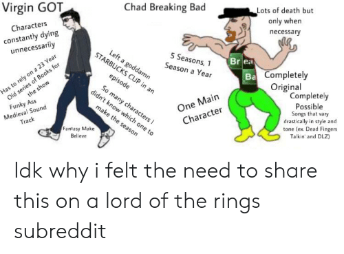 Ass, Bad, and Breaking Bad: Virgin GOT  Chad Breaking Bad  Lots of death but  only when  necessary  Characters  constantly dying  unnecessarily  STA  5 Seasons, 1  Season a Year  Br ea  amn  Completely  Original  One Main  Character  Completely  Possible  Songs that vary  drastically in style and  tone (ex Dead Fingers  Talkin' and DLZ)  ny cha  Medieval Sound  Track  Funky Ass  Fantasy Make  Believe Idk why i felt the need to share this on a lord of the rings subreddit