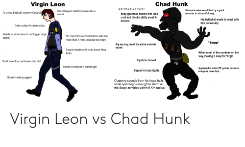Asian, Ass, and Monster: Virgin Leon  Chad Hunk  EXTRACTİONPOİNT  is a cop basically enemy of peopl  Hiis colleagues killed by zombies like a  animal  His teammates were killed by a giant  monster in a honorfull way.  Sexy gasmask makes him look  cool and blocks shitty smell in  sewers  His heli pilot wants to meet with  him personally.  Gets cucked by asian chick  Needs to move slow to not trigger virgin  lickers  No one holds a conversation with him  more than 3 mins because too edgy.  *Snap*  Big ass bag can fit the entire umbrella  squad  Learns karate only to do some Beta  kicks  Killed most of the zombies on the  way,making it easy for Virgin  Small inventory cant even hold shit  Fights for himself  Needs to babysit a autistic girl  Supports trans rights.  Appeared in other RE games because  everyone loves him  Goverment puppet.  Clapping sounds from his huge balls  while sprinting is enough to alarm all  the Stacy zombies within 5 Km radius. Virgin Leon vs Chad Hunk