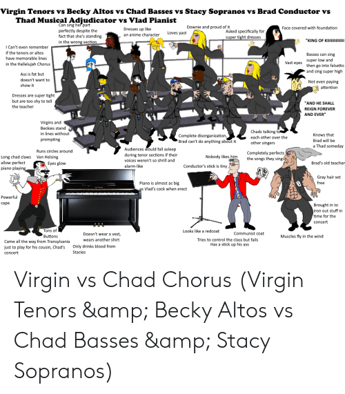 "Anime, Ass, and Fall: Virgin Tenors vs Becky Altos vs Chad Basses vs Stacy Sopranos vs Brad Conductor vs  Thad Musical Adjudicator vs Vlad Pianist  Can sing her part  perfectly despite the  fact that she's standing  in the wrong section  Downie and proud of it  Face covered with foundation  Dresses up like  an anime character  Asked specifically for  super tight dresses  Loves yaoi  I Can't even remember  if the tenors or altos  have memorable lines  in the Hallelujah Chorus  Basses can sing  super low and  then go into falsetto  and sing super high  Vast eyes  Ass is fat but  doesn't want to  show it  览  Not even paying  attention  Dresses are super tight  but are too shy to tell  the teacher  ""AND HE SHALL  REIGN FOREVER  AND EVER""  Virgins and  Beckies stand  in lines without  prompting  Chads talking t  each other over the  other singers  Complete disorganization  Brad can't do anything about it  Knows that  Brad will be  a Thad someday  Audiences would fall asleep  during tenor sections if their  voices weren't so shrill and  alarm-like  Runs circles around  Completely perfects  he songs they sing  Nobody likes m  Long chad claws  allow perfect  piano playin  Van Helsing  Eyes glow  Brad's old teacher  Conductor's stick is tiny  Gray hair set  free  Piano is almost as big  s Vlad's cock when erect  Powerful  cape  Brought in to  iron out stuff in  time for the  concert  Tons of  Buttons  Looks like a redcoat  Communist coat  Doesn't wear a vest  wears another shirt  Muscles fly in the wind  Tries to control the class but fails  Came all the way from Transylvania  just to play for his cousin, Chad's Only drinks blood from  concert  Has a stick up his ass  Stacies Virgin vs Chad Chorus (Virgin Tenors & Becky Altos vs Chad Basses & Stacy Sopranos)"