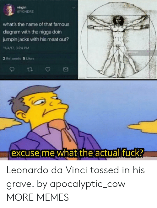 Dank, Leonardo Da Vinci, and Memes: virgin  @YONDRE  what's the name of that famous  diagram with the nigga doin  jumpin jacks with his meat out?  11/4/17, 3:24 PM  2 Retweets 5 Likes  excuse me what the actualifuck? Leonardo da Vinci tossed in his grave. by apocalyptic_cow MORE MEMES
