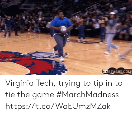 Sports, The Game, and Virginia Tech: Virginia Tech, trying to tip in to tie the game #MarchMadness https://t.co/WaEUmzMZak