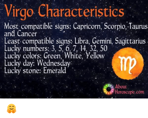 Virgo characteristics most compatible signs capricorn Sagittarius lucky color