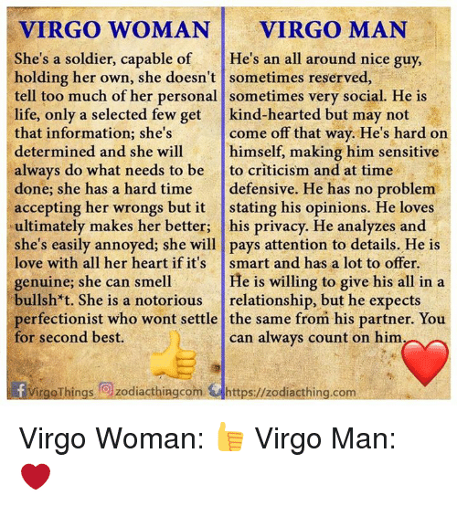 VIRGO WOMAN VIRGO MAN She's a Soldier Capable of He's an All Around