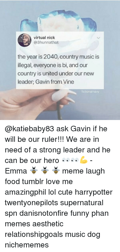 Virtual Nick The Year Is 2040 Country Music Is Llegal Everyone Is Bi And Our Country Is United Under Our New Leader Gavin From Vine Fictionalnavy Ask Gavin If He Will Be