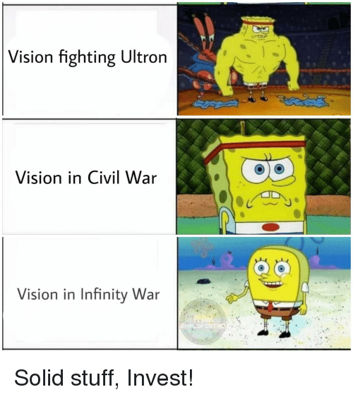 Vision, Civil War, and Infinity: Vision fighting Ultron  Vision in Civil War  Vision in Infinity War