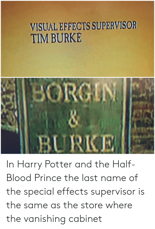 Harry Potter, Prince, and Harry Potter and the Half-Blood Prince: VISUAL EFFECTS SUPERVISOR  TIM BURKE  BU RKE In Harry Potter and the Half-Blood Prince the last name of the special effects supervisor is the same as the store where the vanishing cabinet