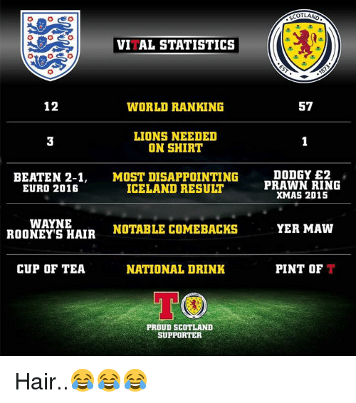 Disappointed, Memes, and Euro: VITAL STATISTICS  12  WORLD RANKING  LIONS NEEDED  ON SHIRT  BEATEN 2-1  MOST DISAPPOINTING  ICELAND RESULT  EURO 2016  WAYNE  NOTABLE COMEBACK  ROONEY S HAIR  CUP OF TEA  NATIONAL DRINK  TOO  PROUD SCOTLAND  SUPPORTER  SCOTLAND  57  DODGY E2  PRAWN RING  XMAS 2015  YER MAW  PINT OF  T Hair..😂😂😂