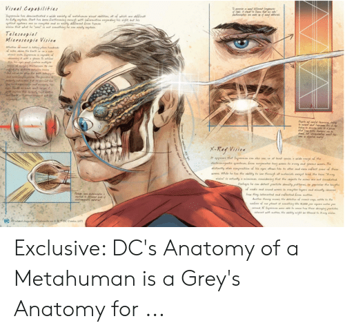 Grey's Anatomy, Greys, and Dcs: Viul Capabilities  o Fully eaplin Clark bas be  is sight, but s  are so  Teleseopiel  흣  owthey interacted vellected from matter Exclusive: DC's Anatomy of a Metahuman is a Grey's Anatomy for ...