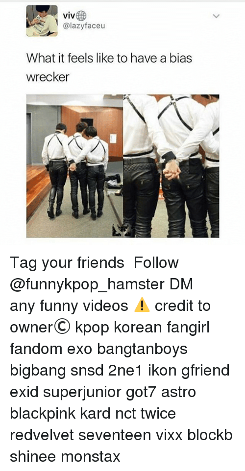 Friends, Funny, and Memes: VIV  @lazyfaceu  What it feels like to have a bias  wrecker 》Tag your friends 》》 Follow @funnykpop_hamster 》》》DM any funny videos ⚠ credit to owner© kpop korean fangirl fandom exo bangtanboys bigbang snsd 2ne1 ikon gfriend exid superjunior got7 astro blackpink kard nct twice redvelvet seventeen vixx blockb shinee monstax