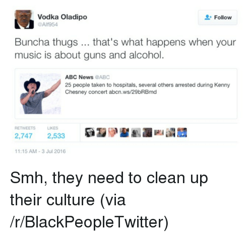 Abc, Blackpeopletwitter, and Guns: Vodka Oladipo  @Alf954  Follow  Buncha thugs... that's what happens when your  music is about guns and alcohol.  ABC News @ABC  25 people taken to hospitals, several others arrested during Kenny  Chesney concert abcn.ws/29bRBmd  RETWEETSLIKES  2,747 2,533  1:15 AM-3 Jul 2016 <p>Smh, they need to clean up their culture (via /r/BlackPeopleTwitter)</p>