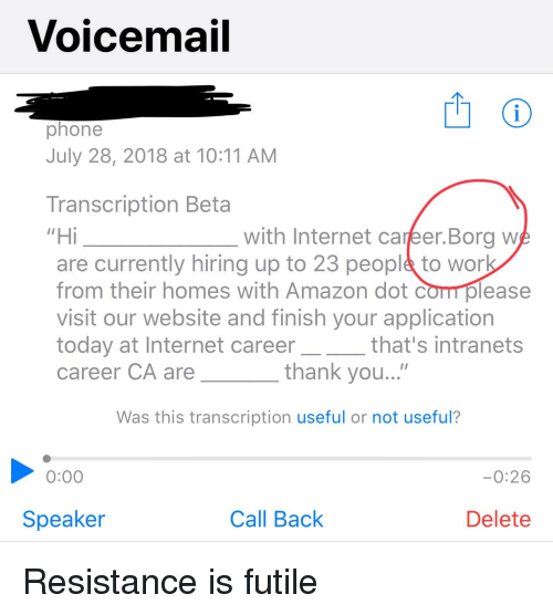voicemail phone july 28 2018 at 1011 am transcription beta hi are