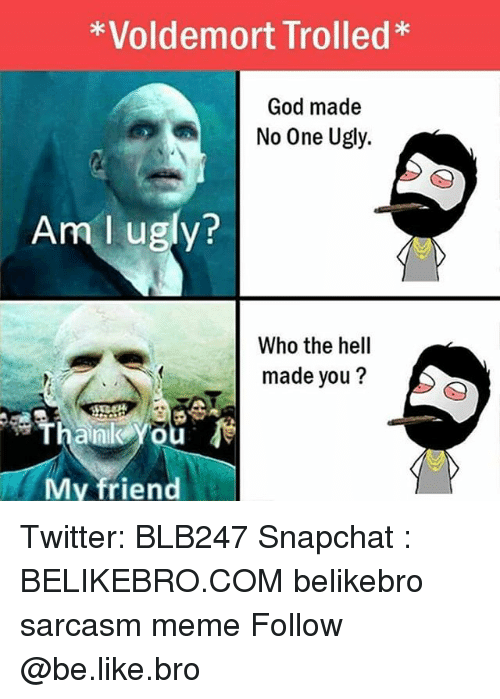 Be Like, God, and Meme: *Voldemort Trolled*  God made  No One Ugly  Am l ugly?  Who the hell  made you ?  Thank You  My friend Twitter: BLB247 Snapchat : BELIKEBRO.COM belikebro sarcasm meme Follow @be.like.bro
