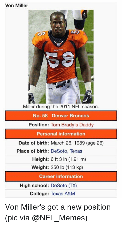 College, Dating, and Denver Broncos: Von Miller  Miller during the 2011 NFL season.  No. 58 Denver Broncos  Position  Tom Brady's Daddy  Personal information  Date of birth: March 26, 1989 (age 26  Place of birth: DeSoto, Texas  Height: 6 ft 3 in (1.91 m)  Weight: 250 lb (113 kg)  Career information  High school: DeSoto ITX)  College: Texas A&M Von Miller's got a new position (pic via @NFL_Memes)