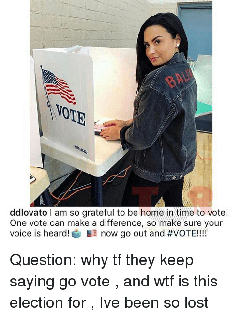Wtf, Lost, and Home: VOTE  ddlovato I am so grateful to be home in time to vote!  One vote can make a difference, so make sure your  voice is heard! 髫now go out and Question: why tf they keep saying go vote , and wtf is this election for , Ive been so lost
