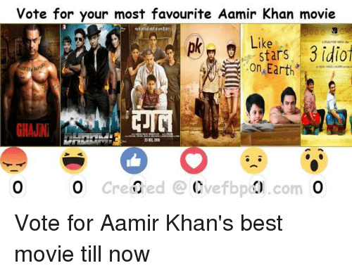 Memes, Best, and Earth: vote for your most favourite Aamir Khan movie  Like  Stars 3 idiot  Earth  o created Cvefbpd  com Vote for Aamir Khan's best movie till now