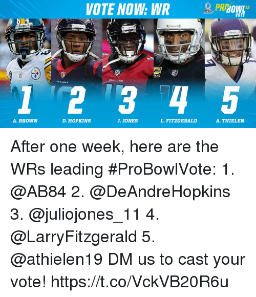 Memes, 🤖, and One: VOTE NOW: WR  PRBOWE  clers  1 2 3 4  A. BROWN  D. HOPKINS  J. JONES  L. FITZGERALD  A. THIELEN After one week, here are the WRs leading #ProBowlVote:  1. @AB84 2. @DeAndreHopkins 3. @juliojones_11 4. @LarryFitzgerald 5. @athielen19  DM us to cast your vote! https://t.co/VckVB20R6u