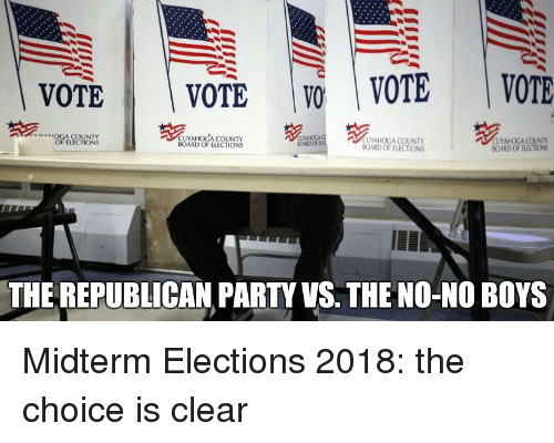 Party, Republican Party, and Board: VOTE | VOTE | | VOTE | VOTE  IVALOGA COUNTY  OF ELECTIONS  NHOCACU  CUYAHOGA COUNTY  BOARD OF ELECTIONS  CUYAHOGA COUNTY  BOARD OF ELECTIONS  BOARD OF ELECTIONS  THE REPUBLICAN PARTY VS. THE NO-NO BOYS