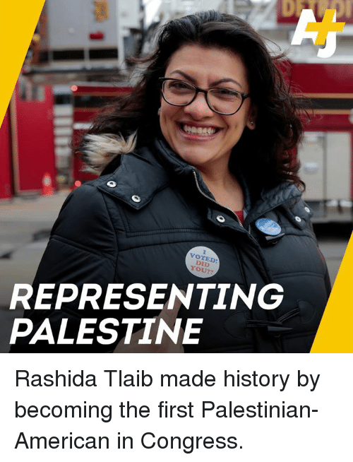 Memes, American, and History: VOTED  DID  YOU??  REPRESENTING  PALESTINE Rashida Tlaib made history by becoming the first Palestinian-American in Congress.