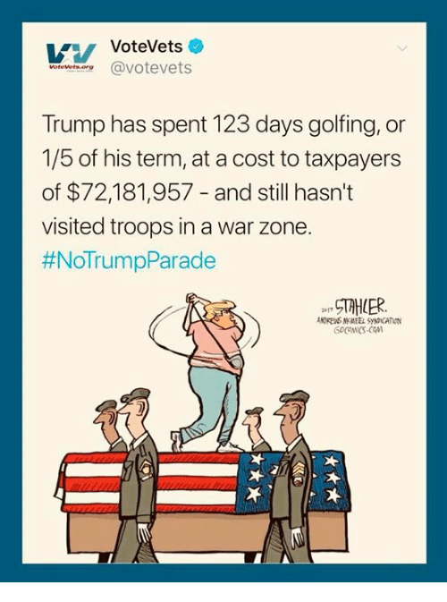 Trump, War, and Zone: VoteVets  worewet.oereavotevets  Trump has spent 123 days golfing, or  1/5 of his term, at a cost to taxpayers  of $72,181,957 - and still hasn't  visited troops in a war zone.  #NoTrumpParade  NDRENS NMEEL SYNDICATION