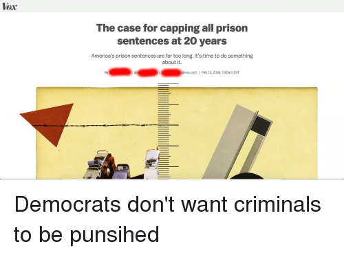 Prison, Time, and Vox: Vox  The case for capping all prison  sentences at 20 years  America's prison sentences are far too long. It's time to do something  about it.  By  @vox.com  |  Feb 12,2019, 7:30am EST