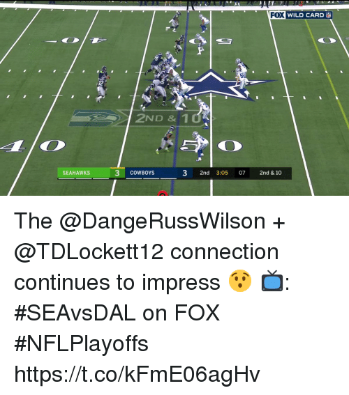Dallas Cowboys, Memes, and Seahawks: VROEVILD CARD  32  2ND & 10  SEAHAWKS  3 CoWBOYS  3 2nd 3:05 07 2nd & 10 The @DangeRussWilson + @TDLockett12 connection continues to impress 😯  📺: #SEAvsDAL on FOX #NFLPlayoffs https://t.co/kFmE06agHv