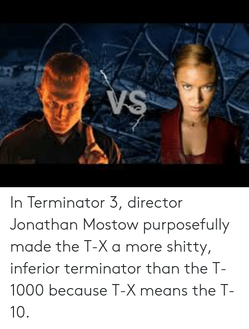 Terminator, Terminator 3, and Means: VS In Terminator 3, director Jonathan Mostow purposefully made the T-X a more shitty, inferior terminator than the T-1000 because T-X means the T-10.