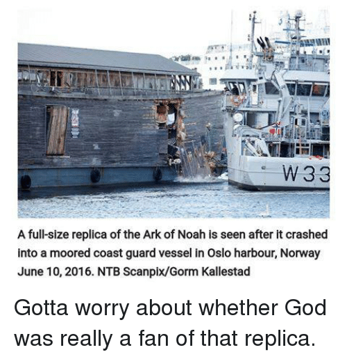 W 33 a Full-Size Replica of the Ark of Noah Is Seen After It