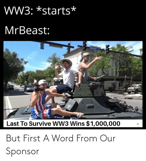 Word, Ww3, and Market: W3: *starts*  MrBeast:  Market  FIST  Last To Survive WW3 Wins $1,000,000 But First A Word From Our Sponsor