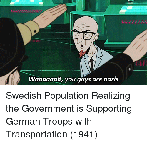 Swedish, Government, and German: Waaaaaait, you guys are nazis Swedish Population Realizing the Government is Supporting German Troops with Transportation (1941)
