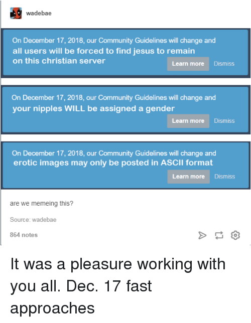 Community, Jesus, and Tumblr: wadebae  On December 17, 2018, our Community Guidelines will change and  all users will be forced to find jesus to remain  on this christian server  Learn more Dismiss  On December 17, 2018, our Community Guidelines will change and  your nipples WILL be assigned a gender  Learn more Dismiss  On December 17, 2018, our Community Guidelines will change and  erotic images may only be posted in ASCII format  Learn more Dismiss  are we memeing this?  Source: wadebae  864 notes