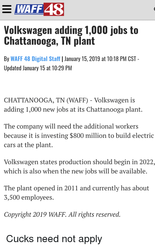 Volkswagen Chattanooga Jobs >> Waff 48o Volkswagen Adding 1000 Jobs To Chattanooga Tn Plant By Waff