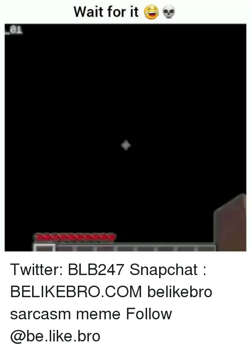Be Like, Meme, and Memes: Wait for it e  01 Twitter: BLB247 Snapchat : BELIKEBRO.COM belikebro sarcasm meme Follow @be.like.bro