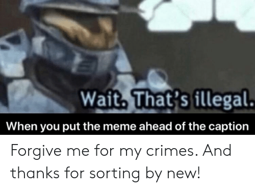 Meme, New, and You: Wait. That's illegal  When you put the meme ahead of the caption Forgive me for my crimes. And thanks for sorting by new!