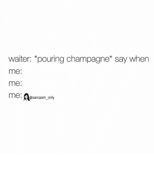 Funny, Memes, and Champagne: waiter: pouring champagne say when  me  me.  me: @sarcasm only ⠀