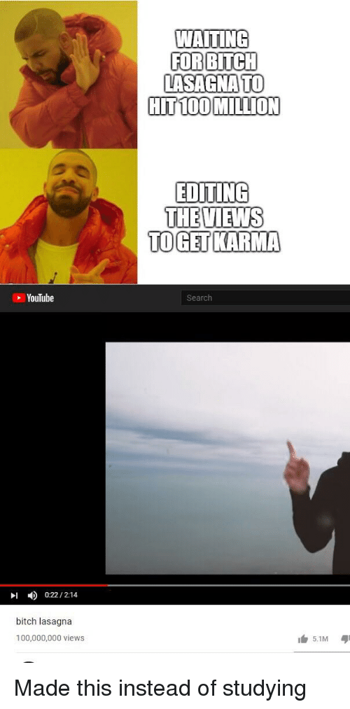 Anaconda, Bitch, and youtube.com: WAITING  FORBITC  LASAGNATO  HIT 100 MILLION  EDITING  THEVIEWS  TOGET KARMA  YouTube  Search  川  4)  0:22 / 2:14  bitch lasagna  100,000,000 views