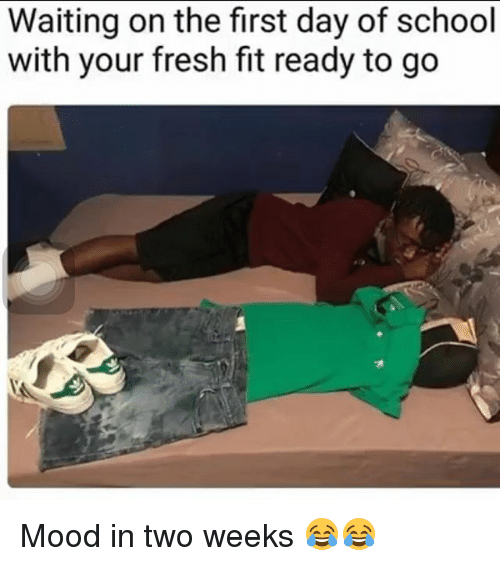 Fresh, Memes, and Mood: Waiting on the first day of school  with your fresh fit ready to go Mood in two weeks 😂😂