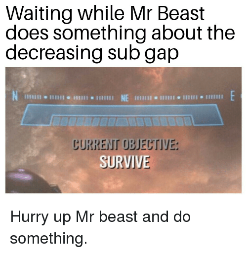 Waiting..., Gap, and Beast: Waiting while Mr Beast  does something about the  decreasing sub gap  じURREIT OBJEUTIYE:  SURVIVE