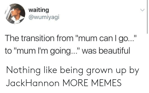 "Beautiful, Dank, and Memes: waiting  @wumiyagi  The transition from ""mum can I go...""  to ""mum I'm going..."" was beautiful Nothing like being grown up by JackHannon MORE MEMES"