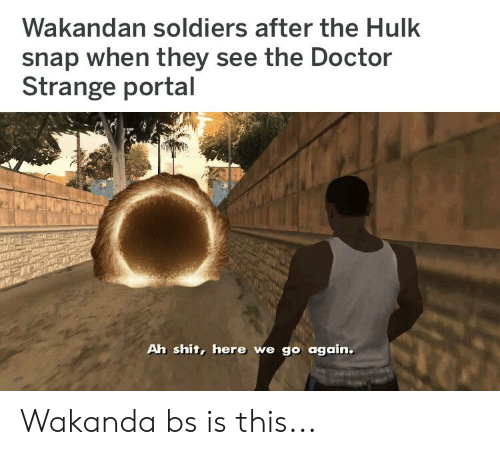 Doctor, Shit, and Soldiers: Wakandan soldiers after the Hulk  snap when they see the Doctor  Strange portal  Ah shit, here we go again. Wakanda bs is this...