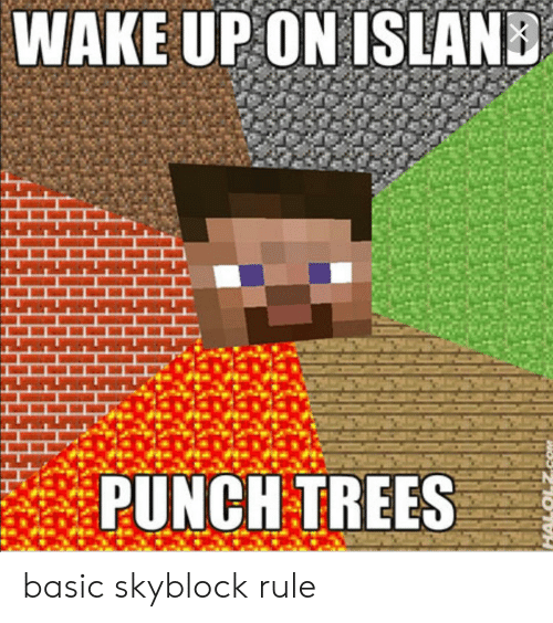 WAKE UP ON ISLAND PUNCH TREES Basic Skyblock Rule | Trees Meme on ME ME