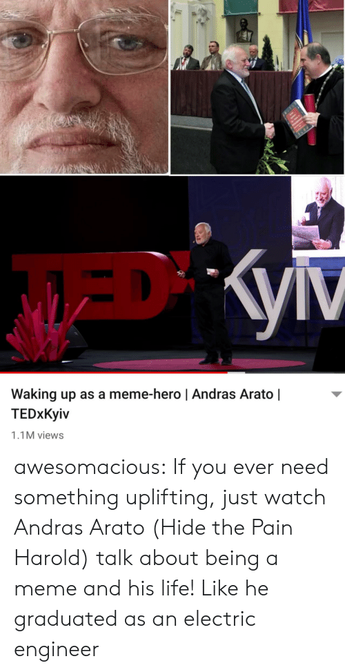 Hide the Pain Harold, Life, and Meme: Waking up as a meme-hero | Andras Arato |  TEDxKyiv  1.1M views awesomacious:  If you ever need something uplifting, just watch Andras Arato (Hide the Pain Harold) talk about being a meme and his life! Like he graduated as an electric engineer