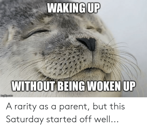 Advice Animals, Com, and This: WAKING UP  WITHOUT BEING WOKEN UP  imgflip.com A rarity as a parent, but this Saturday started off well...