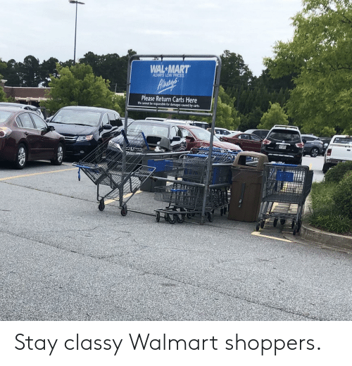 WAL MART ALWAYS LOW PRICES Agneris Please Return Carts Here