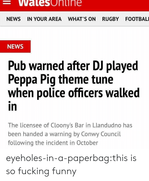 Fucking, Funny, and News: Walesonihe  NEWS IN YOUR AREA WHAT'S ON RUGBY FOOTBAL  NEWS  Pub warned after DJ played  Peppa Pig theme tune  when police officers walked  in  The licensee of Cloony's Bar in Llandudno has  been handed a warning by Conwy Council  following the incident in October eyeholes-in-a-paperbag:this is so fucking funny