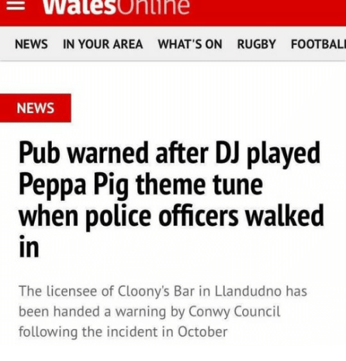 Walesonine NEWS IN YOUR AREA WHAT S ON RUGBY FOOTBAL NEWS Pub Warned