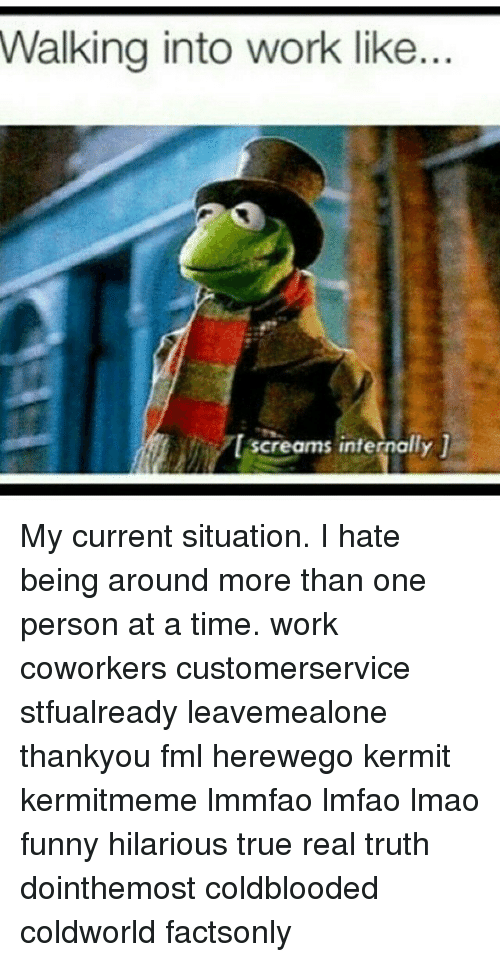 Fml, Funny, and Lmao: Walking into work like..  l screams internally My current situation. I hate being around more than one person at a time. work coworkers customerservice stfualready leavemealone thankyou fml herewego kermit kermitmeme lmmfao lmfao lmao funny hilarious true real truth dointhemost coldblooded coldworld factsonly