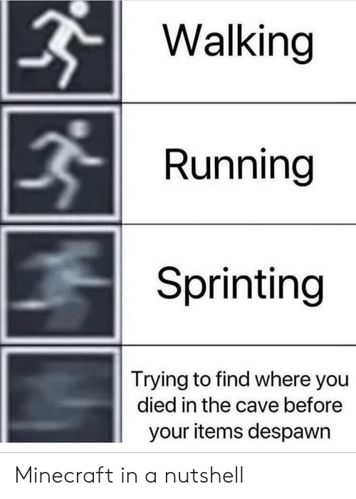 Minecraft, Running, and The Cave: Walking  Running  Sprinting  Trying to find where you  died in the cave before  your items despawn Minecraft in a nutshell