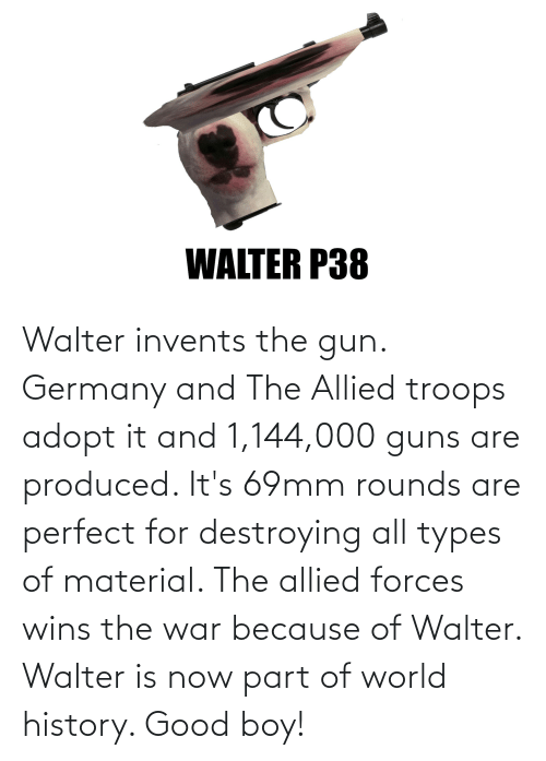 Guns, Germany, and Good: Walter invents the gun. Germany and The Allied troops adopt it and 1,144,000 guns are produced. It's 69mm rounds are perfect for destroying all types of material. The allied forces wins the war because of Walter. Walter is now part of world history. Good boy!