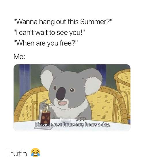 "Summer, Free, and Truth: ""Wanna hang out this Summer?""  ""I can't wait to see you!""  ""When are you free?""  Me:  have to.restsfor twenty hours a dav Truth 😂"